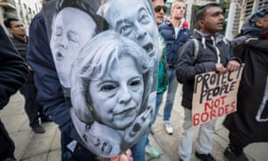 Protesters outside the Home Office in London stage a rally over the detention and repatriation of migrants