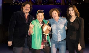 Shauna Guinn (left) and Sam Evans from Hang Fire Southern Kitchen in Barry, winners of Best Restaurant, with hosts Jay Rayner and Nigella Lawson