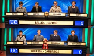 Who will emerge victorious? The 2017 University Challenge finalists, Balliol – Oxford and Wolfson – Cambridge.