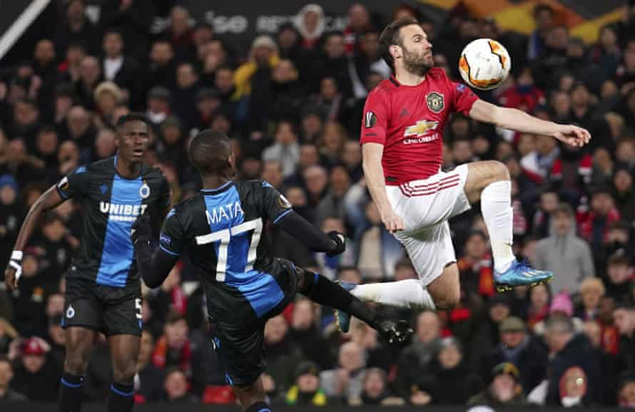 Juan Mata finds a way past Club Brugge in Manchester United's Europa League win at Old Trafford.