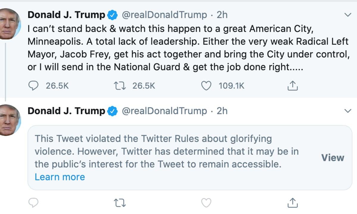 Twitter hides Donald Trump tweet for 'glorifying violence ...