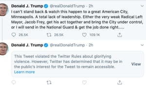 Donald Trump's censored tweet.