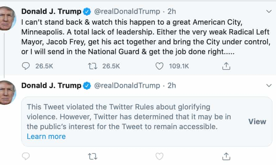 Twitter Hides Donald Trump Tweet For Glorifying Violence Twitter The Guardian
