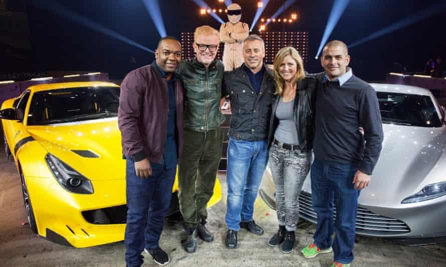 Top Gear's new team, left to right: Rory Reid, Chris Evans, The Stig, Matt LeBlanc, Sabine Schmitz, Chris Harris.