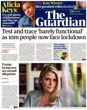 Guardian front page, Friday 18 September 2020