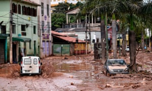 A flooded street after the Das Velhas River overflowed in Sabara, Belo Horizonte, Brazil.