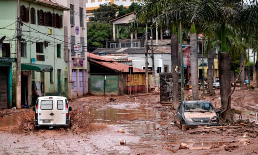 A flooded street after the Das Velhas River overflowed in Sabara, Belo Horizonte, Brazil.