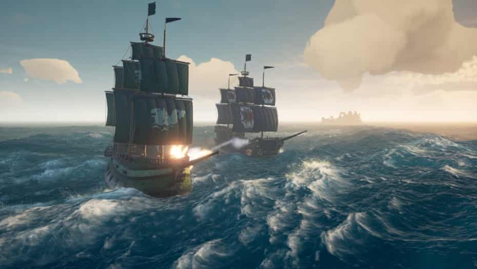 Two galleons slug it out on the waves in Sea of Thieves.