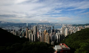 Victoria Harbour and downtown skyline as seen from the Peak in Hong Kong.