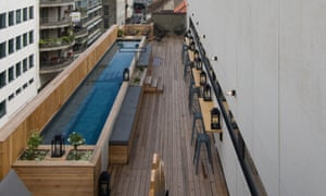 The thin pool on the rooftop of the Jam Hotel, Brussels.
