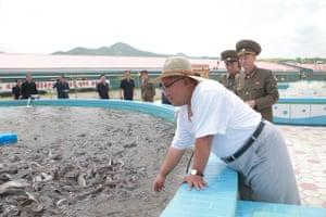 Kim inspecting the Samchon Catfish Farm in South Hwanghae province.