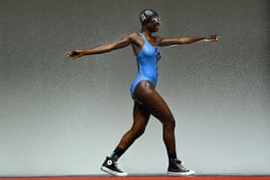A model walks the runway during the P.E Nation show.
