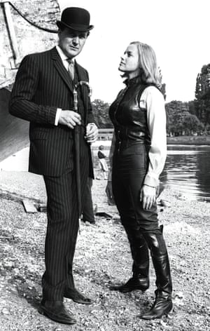 Honor Blackman and Patrick Macnee on the set of The Avengers.