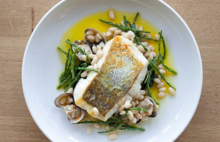 Roast hake, coco beans, cockle & samphire dressing.