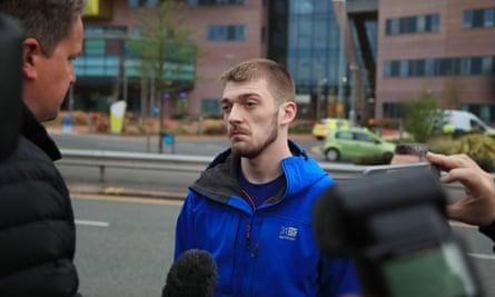 Tom Evans speaks to reporters outside Alder Hey hospital