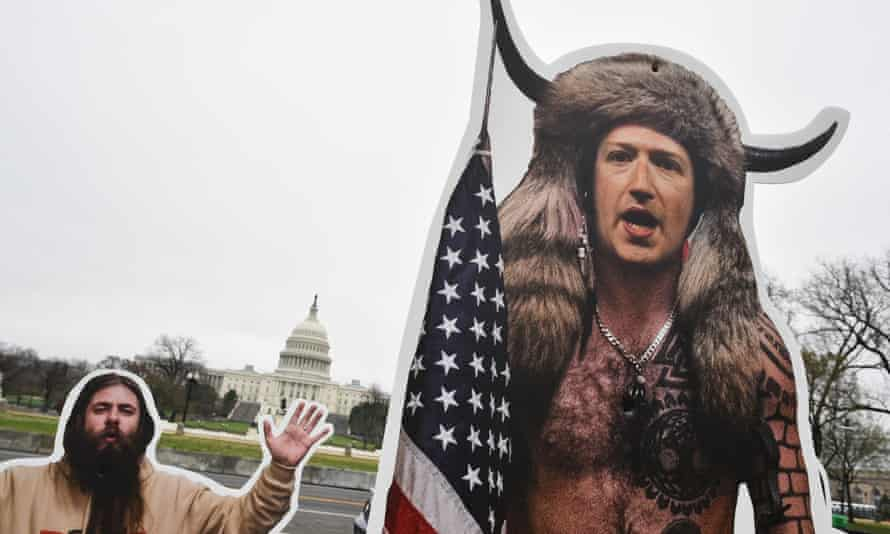 An effigy of Facebook CEO, Mark Zuckerberg, dressed as Capitol insurrectionist in Washington.