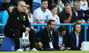 Leeds United's Marcelo Bielsa keeps an eye on his team in the Middlesbrough match at the start of the season.
