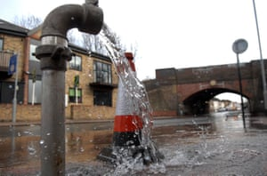 Water leaks from a Thames Water standpipe in south London