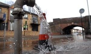 A water leak on a street in London