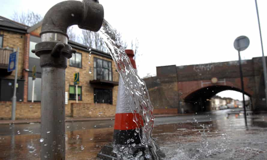 Water flows from a Thames Water standpipe in south London in March
