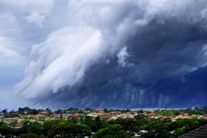 """A shelf cloud forming over Sydney, Australia, on November 6, 2015. The poster on Twitter described it as a """"cloud-tsunami""""."""