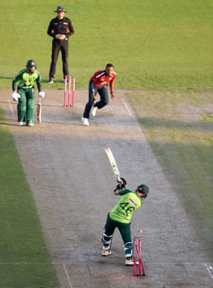 Haider Ali is clean bowled by Chris Jordan for 54.