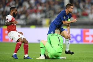 Kepa Arrizabalaga collides with his Chelsea teammate Cesar Azpilicueta.