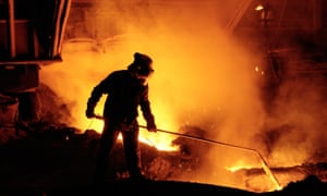 A worker at a steelworks