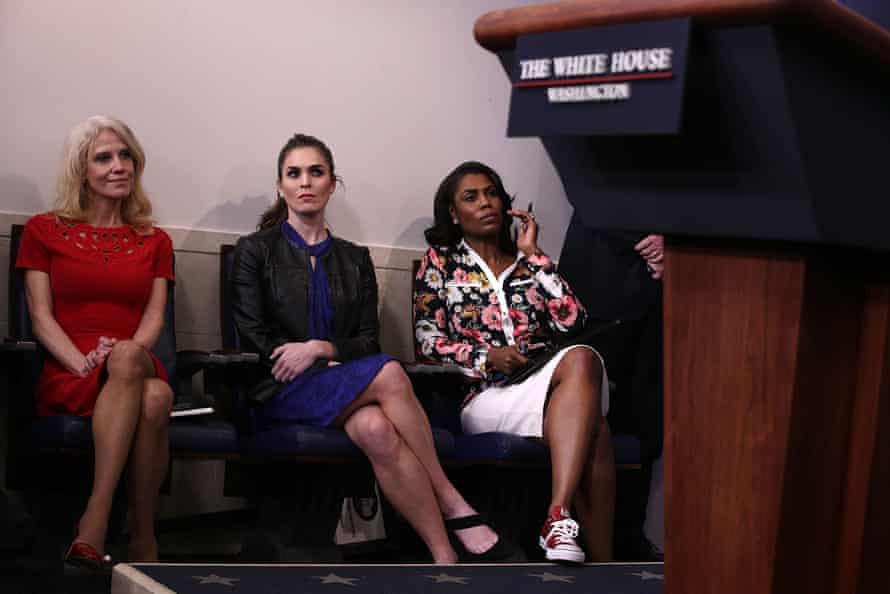 The White House staffer Kellyanne Conway and former aides Hope Hicks and Omarosa Manigault Newman at a press briefing last year.