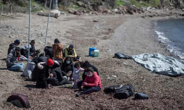 A group of migrants in Ayvalık, Turkey, after allegedly being pushed back by a Greek patrol.