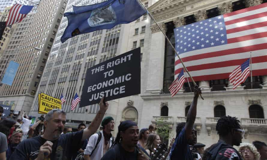 Occupy Wall Street marchers in 2011