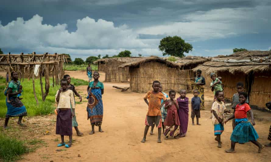 A tobacco farm village and residents, Kasungu district, Malawi.