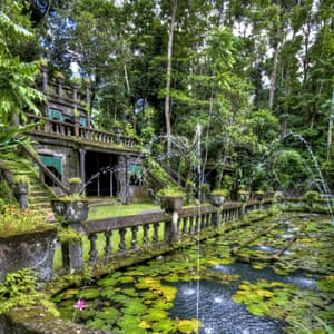Gardens and a pond at Paronella park, Queensland, Australia
