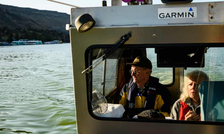 Gene and Sandy Ralston aboard the Kathy G on Lake Billy Chinook in Jefferson County, Oregon.