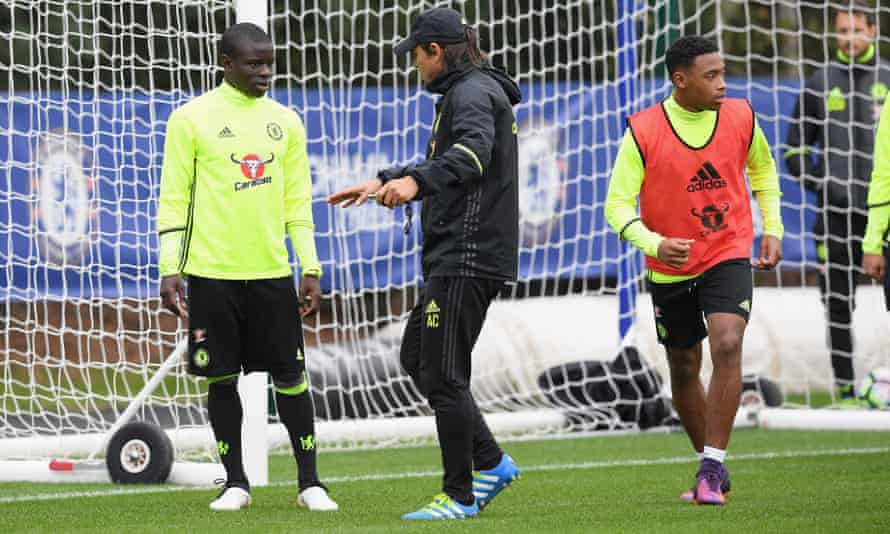 N'Golo Kante and Antonio Conte at Chelsea training on Friday.