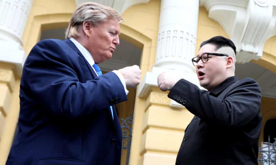 Donald Trump and Kim Jong-un impersonators in Hanoi on Friday where the second summit between Trump and Kim will take place on 27 and 28 February.