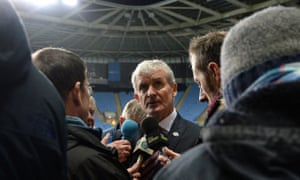 Mark Hughes talking to the media after Stoke City's FA Cup defeat at Coventry