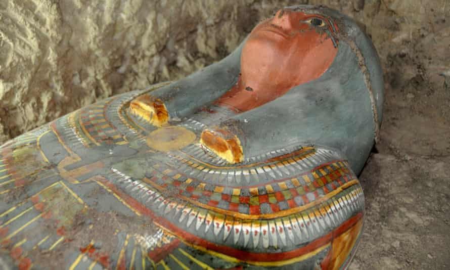 Sarcophagus containing the mummy that has been found near Luxor