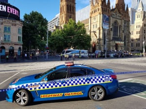 Police cordon off the area in the busy central business district of Melbourne