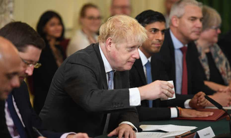 Boris Johnson at the first post-reshuffle cabinet meeting in Downing Street on 17 September.