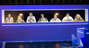 Zawe Ashton, Imogen Doel, Brian Doherty, Christine Entwisle, Barnaby Power, Oliver Rix and Sophie Ross in Narrative at the Royal Court, written and directed by Anthony Neilson.