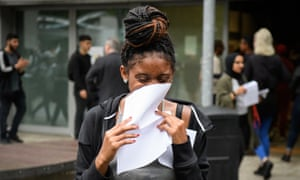 A student after receiving her A-level results at City and Islington College in London.