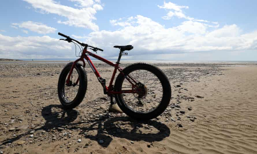 fat bike on the beach near Porthcawl, Wales