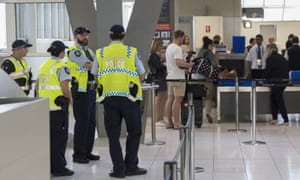 Police at Sydney airport after the alleged terrorist plot to blow up a plane in July 2017. Two Isis members suspected to be involved in the plot have been arrested in Iraq.