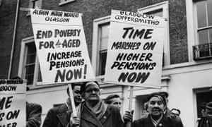Pensioners demonstrating in London in 1957.