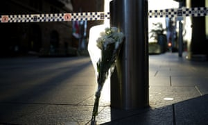Flowers left at Martin Place after the siege