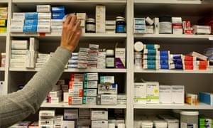 Drugs on the shelves of a pharmacy
