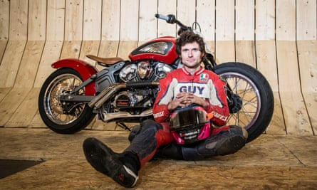 Guy Martin on site at the Wall of Death.