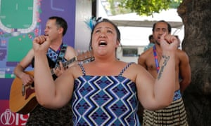 A traditional Maori singer performs during the match between Australia and New Zealand at Lord's.