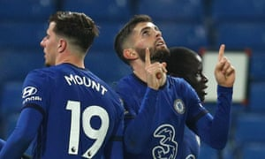 Christian Pulisic of Chelsea celebrates with teammates after scoring their team's third goal.